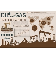 Oil and gas template for infographic with pumps vector