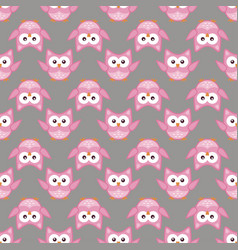 owl stylized art seemless pattern pink gray colors vector image