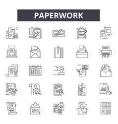 Paperwork line icons signs set linear vector