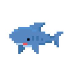 pixelated cartoon shark - isolated vector image