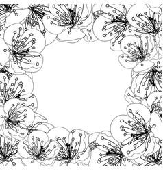 Plum blossom flower border outline vector