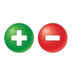Plus and minus - two balls in green and red colour vector