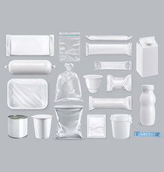 polyethylene and polystyrene packaging for food vector image