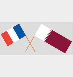 Qatar and france the qatari and french flags vector