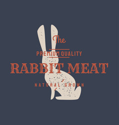 rabbit vintage logo retro print poster for vector image
