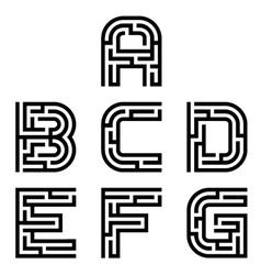 Real maze alphabet font letters - part 1 vector