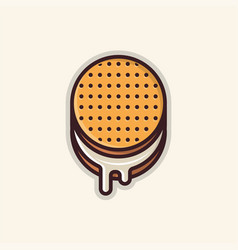 Round biscuit line art icon vector