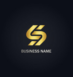 S initial company gold logo vector