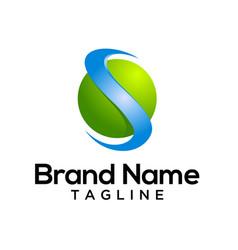 s letter ribbon 3d logo template vector image