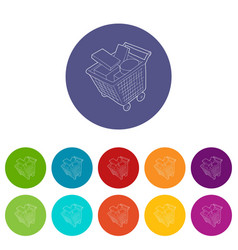 sale shopping cart with boxes icons set vector image
