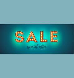 sale text from glowing letters handwritten text vector image