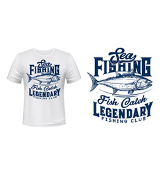 Sea fishing club t-shirt print mockup vector