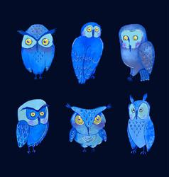 Set cute night owls vector