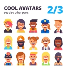 Set of cool avatars 2 of 3 See also other parts vector image