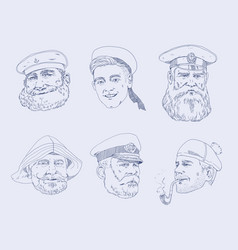 set of portraits different sailors the sailor vector image