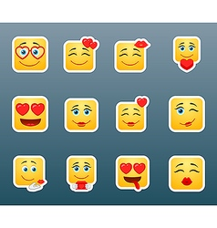 Set smile love stickers vector