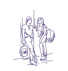 Sketch couple stand talking holding backpacks vector
