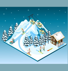 ski resort isometric composition vector image