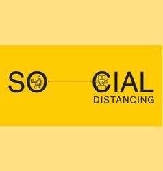 Social distancing concept typeface design vector
