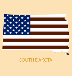 South dakota state of america with map flag print vector