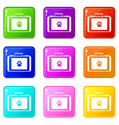 Suitcase for animals icons 9 set vector