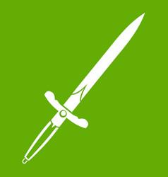 sword icon green vector image vector image
