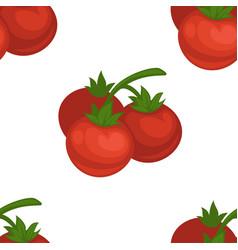 Tomato cherry cartoon seamless pattern on vector