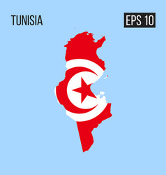 tunisia map border with flag eps10 vector image