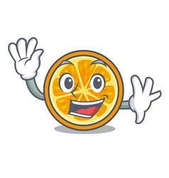 Waving orange character cartoon style vector