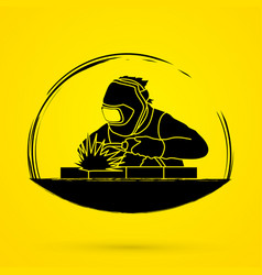 Welding with sparks welder working graphic vector