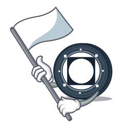 With flag byteball bytes coin mascot cartoon vector