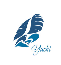 Yachting club blue yacht and waves icon vector