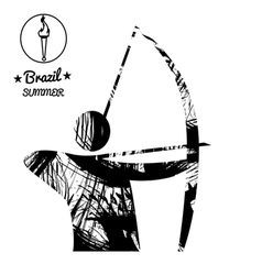 Brazil summer sport card with an abstract archery vector image vector image