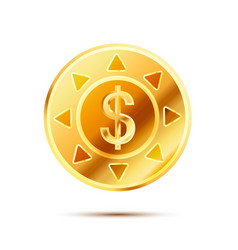 bright glossy golden coin with dollar sign on vector image