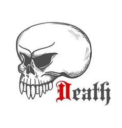 Cracked monster skull stylized sketch vector image