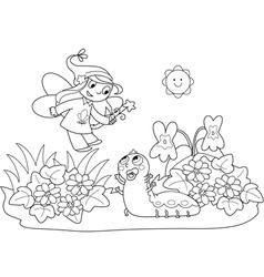 flying fairy and caterpillar vector image vector image