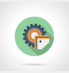 sawing machine flat green round icon vector image