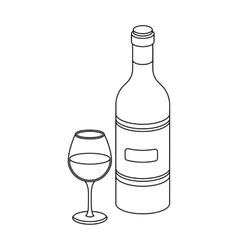 Spanish wine bottle with glass icon in outline vector image vector image