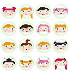 cartoon kids face vector image vector image