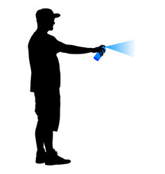 silhouette man holding a spray on a white vector image