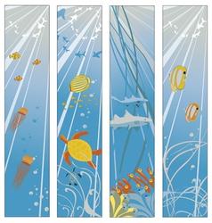 underwater sealife set vector image