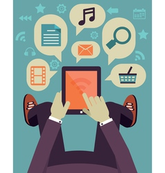 User hold mobile device Tablet pc with application vector image