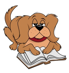 dog fluffy reading vector image vector image