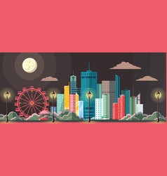 flat style modern design of night city vector image vector image