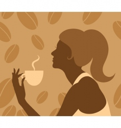 lady drinking coffee vector image vector image