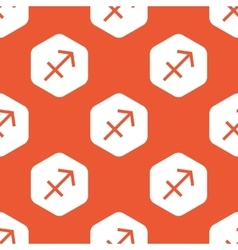 Orange hexagon sagittarius pattern vector