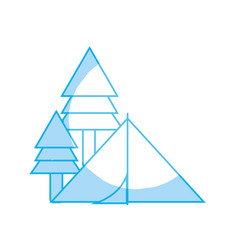 Silhouette camp with trees and natural adventure vector
