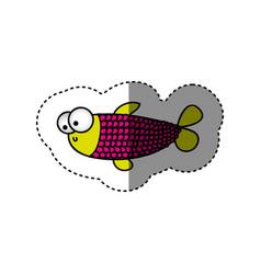 surprised balloon fish cartoon icon vector image