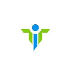 abstract man shape logo vector image