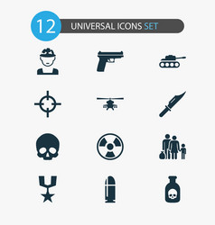 combat icons set collection of weapons cranium vector image vector image